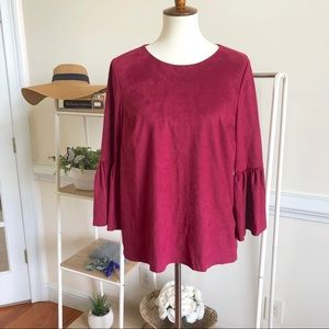 Crown & Ivy suede bell sleeve lined blouse